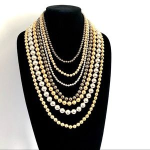 Multi-layer mixed metal beaded Statement necklace